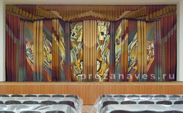 Занавес для ДК. Шелк, роспись. Нижний Тагил, Свердловская область, 2012